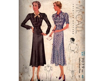 McCall 9079 RARE 1930s Ruffled Bodice Dress Vintage Sewing Pattern Size Bust 40 inches