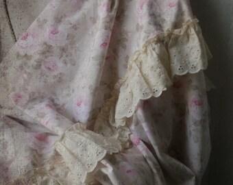 Shabby Chic Rose Duvet.  Cottage Romance Bed Linen. Altered Twin Bed Duvet Coverlet