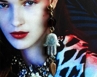 Hamsa earrings for protection