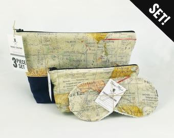 World Map Toiletry Bag Set travel bag gift idea map travel gift woman sleep mask travel map gift dopp kit wanderlust lover travel gift man