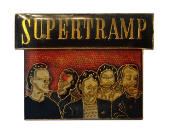 SUPERTRAMP vintage enamel pin button rock and roll music