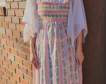 70s Hippie Dress Ivory Floral Maxi Vintage Retro XS