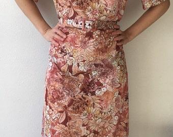 Hippie Floral Print Short Sleeve 70s Dress Vintage M