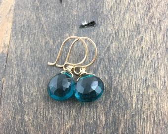 Peacock Teal Quartz Earrings - Teal Blue Quartz Earrings - Turquoise Gemstone Earrings - Dangle Earrings - Drop Earrings