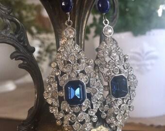 sapphire icicles - vintage rhinestone earrings art deco blue glass gemstone statement holiday jewelry dangle drop chandelier