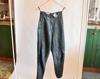 Vintage 1980s black LEATHER trousers
