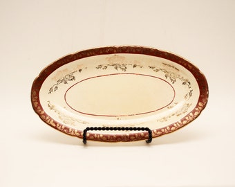 Small Oval Platter by Crooksville China Co / American Made / Vintage / Celery Tray