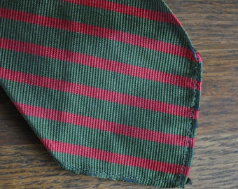 Sambrooks Limited of London Olive and Red silk tie 1950s skinny tie