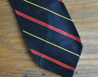 MCM Black silk tie with red and yellow stripes mid century 1950s 1960s