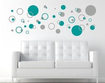 Circle Wall Decals, Circle Wall Decor, Circle Wall Art, Circle Decal Set, Polka Dot Stickers