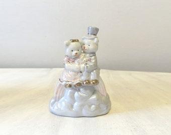 Vintage wedding topper, cake topper, wedding cake topper, vintage cake decoration, vintage bride groom figurine, vintage teddy bear figure