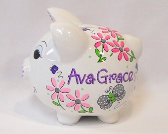 Personalized Piggy Bank with Flowers in Pinks and Purples, and Gray Butterflies