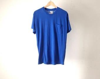 vintage POCKET faded sheer cozy COBALT BLUE thin soft t-shirt