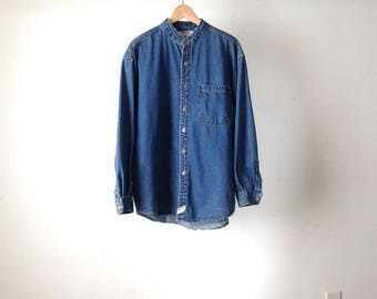 faded blue NIRVANA 90s DENIM mens OVERSIZE vintage shirt