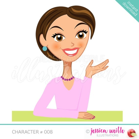Cartoon Characters With Short Hair : Instant download character illustration short hair woman