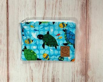 Snack Size Reusable Bag - Zipper Pouch - Sandwich Bag - Reusable Bag - Sea Turtles