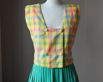 70s Crop top Checkered rainblow coloured top sleeveless blouse Woven cotton top small