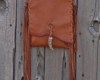 Simple crossbody leather handbag , Soft brown leather purse with fringe , Small leather possibles bag , leather phone bag
