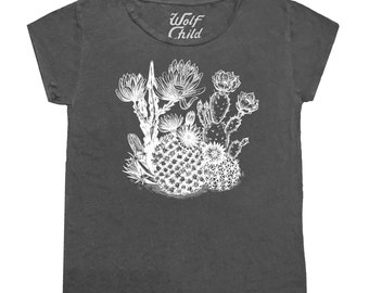Cactaceae - Slouchy Graphic Tee - Made in the USA, cactus, cacti, southwest, boho, desert, graphic tee