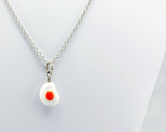 Fried Egg Necklace in Silver - Egg Necklace, Food Necklace, Breakfast Necklace. Gift for Foodie, Cook, Chef, or Waitress.