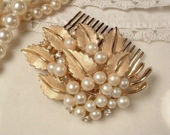 Gold Pearl Bridal Hair Comb, TRIFARI Ivory Pearl Rhinestone Leaf Rose Gold Hair Comb Wedding Accessory Vintage Modern Leaf Hairpiece Clip
