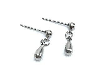 Titanium Teardrop Stud Earrings, Tiny Teardrop Ball Studs, Ball Titanium Stud Earrings, Hypoallergenic Titanium Post Earrings