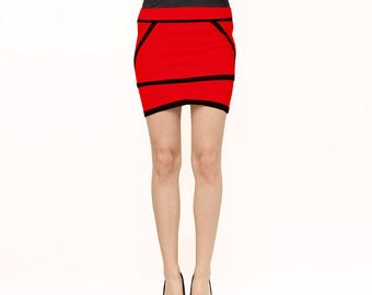 Red and black geometric skirt, Slim fit skirt, Low waist cotton skirt (S2)