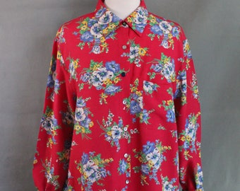 Vintage Womens Bright Red Floral Boho Long Sleeve Summer Shirt, Button Down Shirt, Collar Shirt, Shabby Chic, Size Large