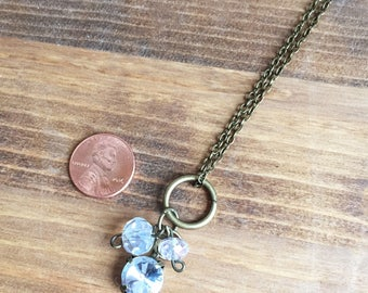 Upcycled Charm Necklace: Swarovski Crystal Beaded Charms with Upcycled Rhinestone Pendent
