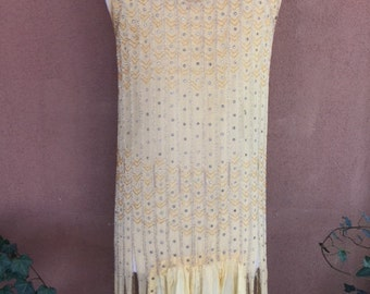 Authentic Vintage 1920's Beaded and Sequined Fringed Flapper Dress