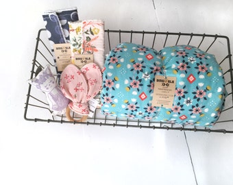 Southwest Faux Fur Baby Blanket, Wildland Flowerbed Blue, Organic Birch Cotton, Native Baby Nursery, Turquoise and Pink, Floral Blanket