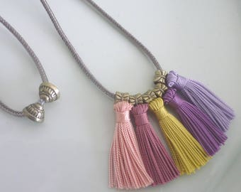 Moroccan tassel necklace, art silk, summer necklace, pinks, lilacs and buttercup