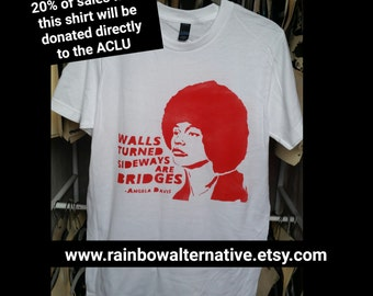 ACLU 20% donation Angela Davis quote t shirt tshirt feminist art feminism street art by Rainbow Alternative power to the people