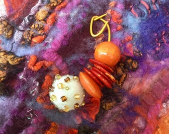 Orange felted wool kilt pin Brooch  - beaded - gold white bronze - ready to ship - Quirky lagenlook Mother's Day gifts