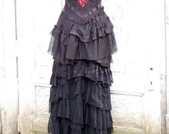 Dress, black dress, goth, victorian, alternative wedding, slip dress, layers,frills, lace, elegant, vampire, romantic goth,halloween wedding