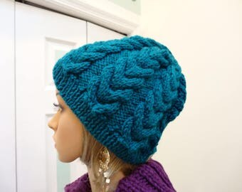WINTER TEAL HAT, hand knitted, worsted weight acrylic yarn, intricate cable stitch, one size fits all, unisex style , warm hat.