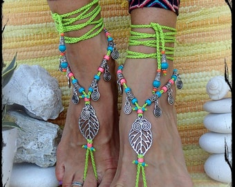 Reserved For Haley. Bikini BAREFOOT sandals Neon LEAF Pink jewelry Ibiza Summer Woodland Fairy sandal foot jewelry Crochet sandals GPyoga