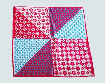 Vintage 60s 70s MOD Silk Square Scarf Pink Blue Daisy Floral Print