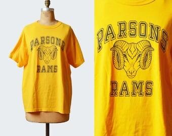 Vintage 80s PARSONS RAMS Shirt Football Shirt Graphic Tee / 1980s Shirt Retro Tshirt Retro T Shirt Sports Medium m