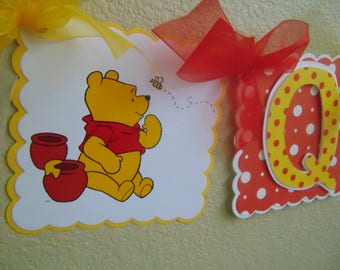 Winnie the Pooh Bear Red and Yellow Happy Birthday Banner with Name and Age Disney