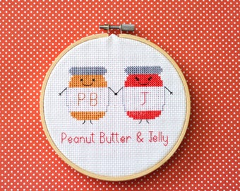 "Peanut butter & jelly cross stitch pattern : ""Cute kawaii style peanut butter and jelly"" - cross stitch pdf pattern - INSTANT DOWNLOAD"