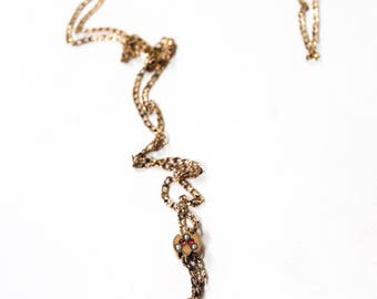 Antique Victorian Slide Chain With Pearls and Red Stones c.1880s