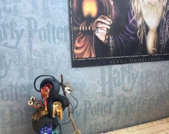 Dollhouse miniature Halloween witch wizard cauldron stack
