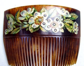 Victorian hair comb celluloid faux tortoiseshell hand painted flowers hair accessory decorative comb hair ornament