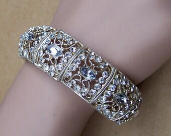 Expanding rhinestone bracelet rhinestone bracelet Hollywood Regency style elasticised bracelet 1980s fashion rhinestone jewelry (ZZH)