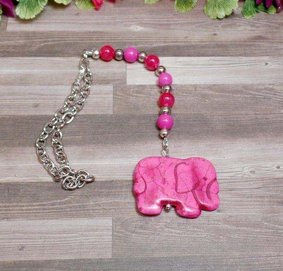 Pink Elephant Rear View Mirror Charm - Car Charm - Howlite Elephant - Pink Car Charm - Elephant Car Accessories