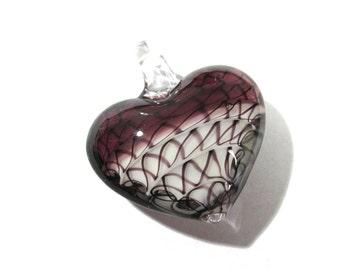 Murano HEART Pendant VINTAGE Glass Pendant Purple White Lampwork Heart Pendant Swirls Vintage Jewelry Supplies Lampwork Glass (D118)