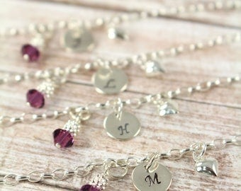 Flower Girl Gift Idea, Bracelets for Girls with Initial and Birthstone Crystal 925 Sterling Silver