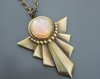 Art Deco Necklace - Vintage Necklace - Opal Necklace - Geometric Necklace - Brass Necklace - handmade jewelry