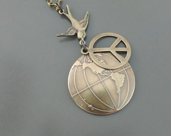 Peace Sign Necklace - Vintage Necklace - Brass Necklace - Layered Necklace - World Necklace - Statement Necklace - handmade jewelry